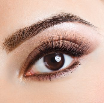 Woman's eye, brown with long dark eyelashes and shaped brows