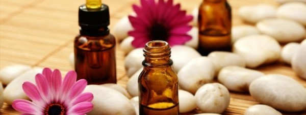 Aromatherapy oils and pebbles