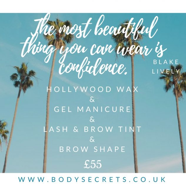 Hollywood wax, intimate wax, gel manicure, tint, brow shape