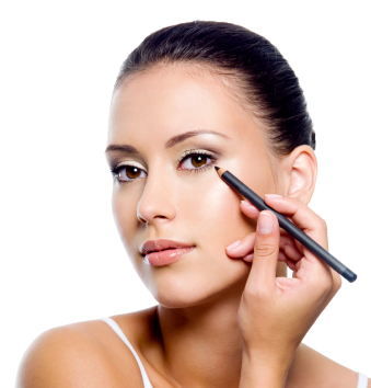 Young woman putting make up (eyeliner) on herself